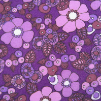 Vintage Unused 1970 s Purple Floral Fabric ( 3.75 yards)