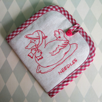 Embroidered Duck in a Bonnet Needle Case