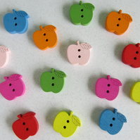 14 Wooden Apple Buttons