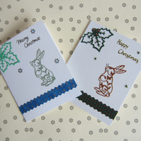 2 Christmas Bunny Rabbit Cards