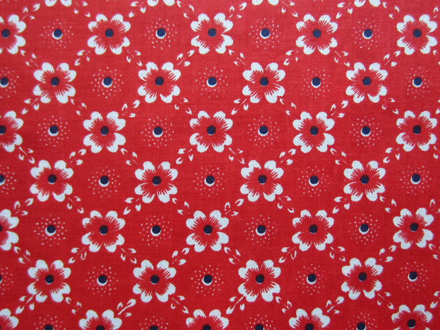 Unused Vintage Red Floral Fabric ( 1 Yard)