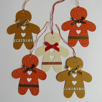 SALE 5 Christmas Gingerbread Men Gift Labels