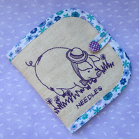 Embroidered Pig Needle Case
