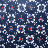 Unused Vintage Navy Blue Floral Fabric (1 Yard)