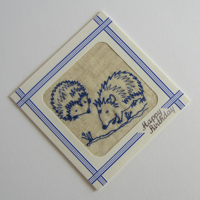 Embroidered Hedgehogs Happy Birthday Card
