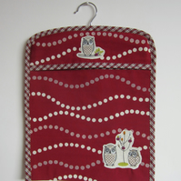 Appliqued Owls Peg Bag