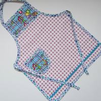 SALE Child's Blue and Lilac Cat Apron