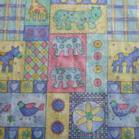 Giraffe, Elephant and other Animals Fabric Remnant (1 metre)