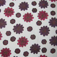 Vintage Unused Purple and Pink Floral Fabric Remnant (1 Yard)