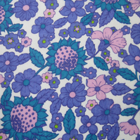1.5 Metres of Unused Vintage 1970 s Lilac and Purple Floral Fabric