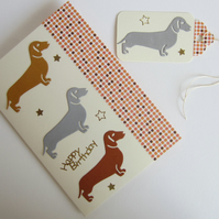 Dachshund Sausage Dog Birthday Card and Gift Label