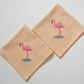 Pair of Embroidered Flamingo Napkins