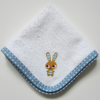 Appliqued Bunny Rabbit Face Cloth, Baby Dribble Cloth