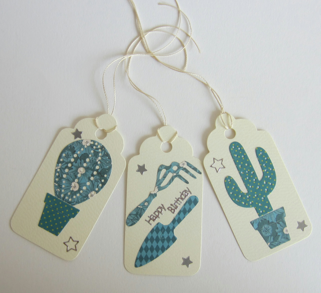 3 Cactus and Gardening Tools Gift Labels