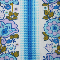 Unused Vintage 1970 s Blue Floral Fabric Remnant