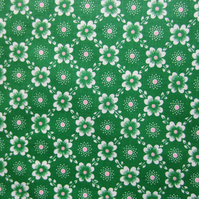 Unused Vintage Green Floral Fabric - 1 Metre
