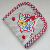 Vintage Embroidered Red Floral Sewing Needle Case