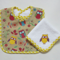 Owl Babies Bib and Dribble Cloth Gift Set