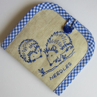 Embroidered Hedgehogs Needle Case