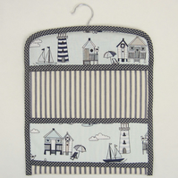 Nautical Beach Huts and Boats Peg Bag