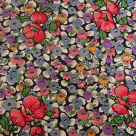 2 Metres of Vintage Unused Floral Fabric