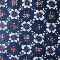 Unused Vintage Navy Blue Floral Fabric - 1 Metre