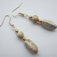 Lilac and Gold Drop Bead Earrings