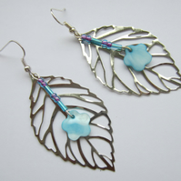 Large Leaf and Flower Bead Earrings