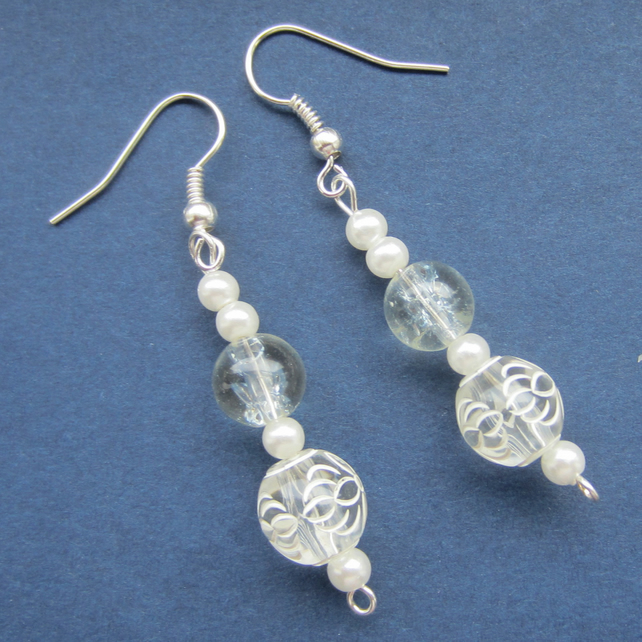 White and Pearl Effect Drop Bead Earrings