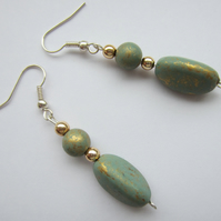 Green and Gold Drop Bead Earrings