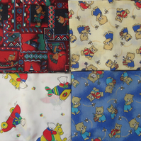 Selection of 4 Teddy Bear Fat Quarters