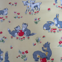 Vintage Animal Fabric Featuring Lambs, Kittens, Bears and Rabbits - 1.5 Yards