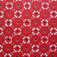 Unused Vintage Red Floral Fabric - 1 Metre