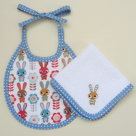 First Size Bunny Rabbit Babies Bib and Dribble Cloth Set