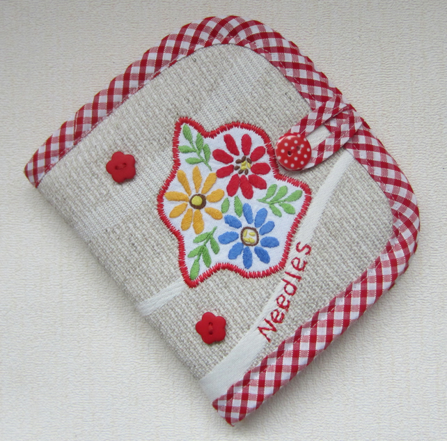 Vintage Embroidery Red Floral Sewing Needle Case with Needles, Pins and Threader