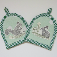 Pair of Squirrel and Rabbit Easter Egg Cosies