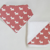 Scottie Dog Baby Bandana Bib and Dribble Cloth Set
