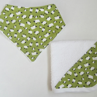 Sheep Baby Bandana Bib and Dribble Cloth Set
