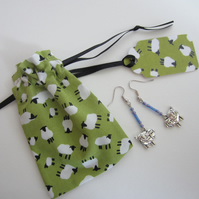 Sheep Earrings with Sheep Gift Bag and Gift Label