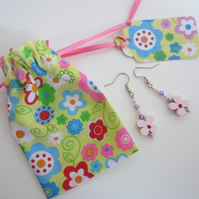 Pink Flower Earrings with Floral Gift Bag and Gift Label