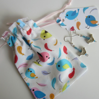Blue Bird Earrings with Bird Gift Bag and Gift Label