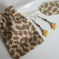 Gingerbread Men Earrings with Gingerbread Men Gift Bag and Gift Label