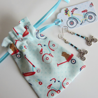 Bicycle Earrings with Bicycle Gift Bag and Gift Label