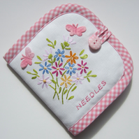 Vintage Embroidery Flower and Butterfly Sewing Needle Case with Needles and Pins