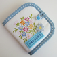 Vintage Embroidery Floral Sewing Needle Case with Needles and Pins