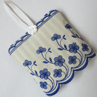 Hanging Blue and White Striped Floral Lavender Bag