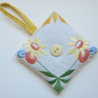 Vintage Embroidered Yellow Floral Lavender Bag