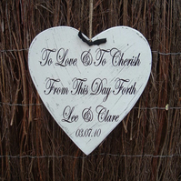 Shabby chic distressed lge heart wedding personalised plaque