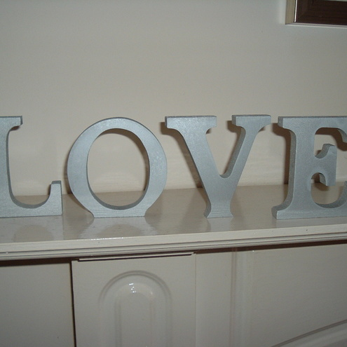 Shabby chic silver colour free standing letters folksy for Silver letters freestanding