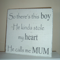 Shabby chic mum son sign plaque